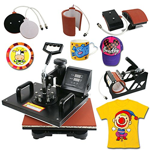 5 in 1 Dual Digital Transfer Sublimation Heat Press Machine for T-Shirt Mug Hat Sublimation Graphic Tee