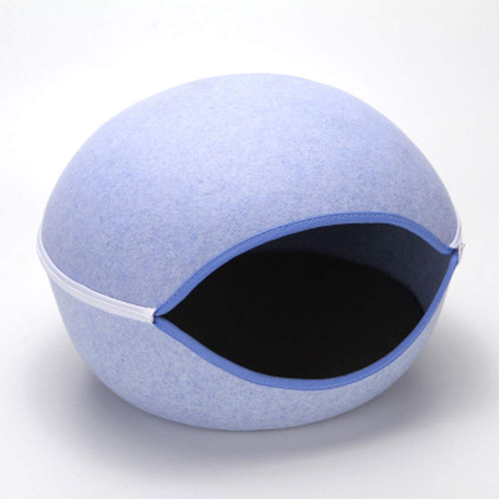 bluee 505032cm bluee 505032cm Egg Shape Dog Cat Bed, Cat Sleeping Bag Zipper Felt Cloth Four Seasons Universal Warm Pet House Detachable Mat,bluee,50  50  32cm