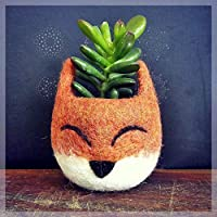 Succulent planter pot - Fox head planter - Felt succulent vase