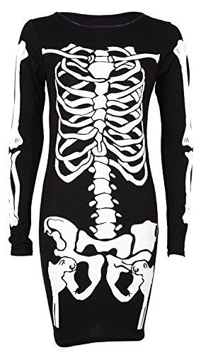 OgLuxe Womens Ladies Skeleton Print Bones HandBodycon Dress BodysuitVneck Halloween Party Collection Plus Size 6-20 (L/XL (US 12-14), Long SlevSkeBodycon)