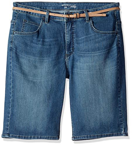 Riders by Lee Indigo Women's Classic Fit Belted Bermuda Short, River Run, 16A