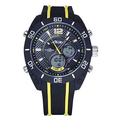 American Design Machine Men's 'Indianapolis' Quartz Stainless Steel and Silicone Sport Watch, Color:Yellow (Model: ADS 4004 YLW)