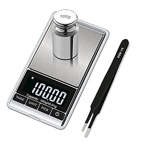 Premium Digital Mini Scale, 0.001oz/0.01g 100g Jewelry Pocket Scale, Precision Portable Grams Scale with 100g Calibration Weight and Tweezer, Tare, 7 Units, Stainless Steel, Batteries Included