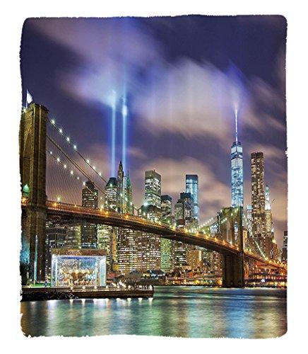 Chaoran 1 Fleece Blanket on Amazon Super Silky Soft All Season Super Plush etManhattankyline With Brooklyn Bridge The Towers Of Lights In New York City Accessories Puple