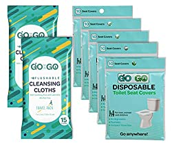 Travel Toilet Seat Covers by Go on the Go - 50 Flushable & Disposable Toilet Seat Covers for Travel Accessories, Kids & Toddler Potty Training (5 Packs of 10) Plus 50 Free Flushable Wet Wipes Included