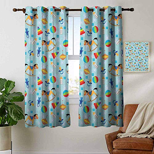 (petpany Living Room Curtains Kids,Colorful Joyous Composition with Different Children`s Toy Figures in Cartoon Style, Multicolor,Adjustable Tie Up Shade Rod Pocket Curtain 42