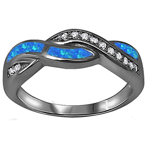 Twisted Crisscross Infinity Ring Created Blue Opal Round Cubic Zirconia Black Tone 925 Sterling Silver, Size - 6 ()
