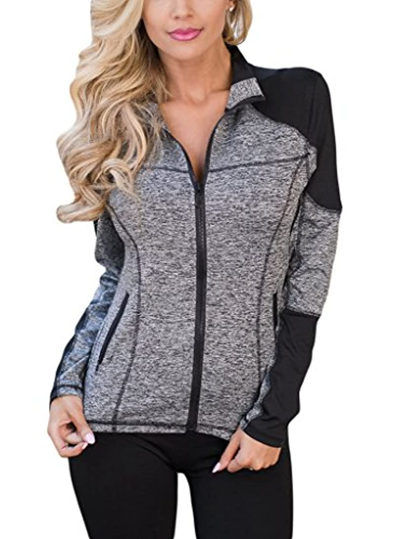 Aleumdr Womens Long Sleeve Zip...
