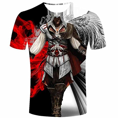 Feverlogic1881 Assassins Creed T-Shirt Assassin's Short Sleeve Classic Game Costume T Shirt (L/XL(US)=XXL(Asia)) - Assassin's Creed 2 Costume Cosplay