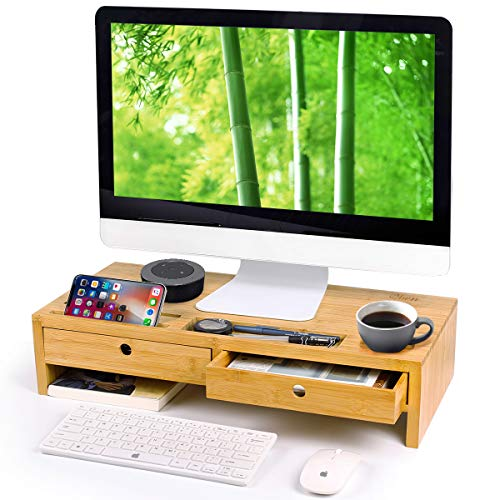 Bamboo Monitor Stand Riser with Drawers, Sturdy Desk Organizer Laptop Stand with Keyboard Storage, Office Computer Accessories Shelf Cellphone TV Printer Natural Container-by Qlben