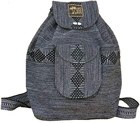 No Bad Days Baja Backpack Ethnic Woven Mexican Bag – Gray – Medium