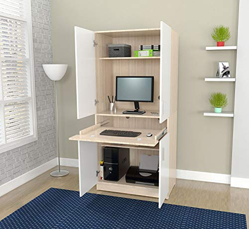 Oak Computer Armoire - Inval AM-16423 Computer Desks, Laricina-White/Beech