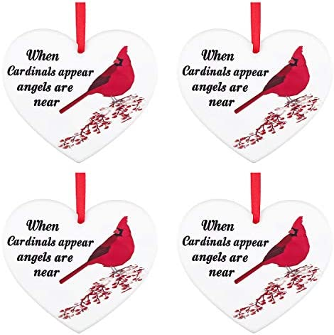 Cardinal In Memory Of Large 4 inch Clear Disc shaped ACRYLIC Mom Gift-Family Gift-heaven-loss-memory