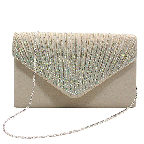 with Rhinestone Satin Pleated Wedding Handbag Envelope Evening Women's for Clutch Beige Prom Bag Party qx1tXY