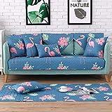 Royhom Cotton Sectional Armrest & Backrest Covers for Sofa, Loveseat | Flamingo 2pcs-35'' x 35''