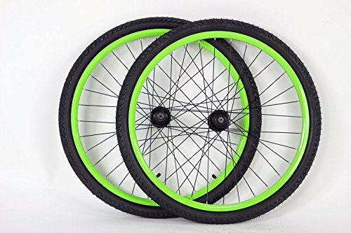 2b40c60065e 26 inch Mountain Bike Bicycle Wheels for Disc or Rim Brakes with Kenda  Kobra 26 X 2.0 Tires and Tubes (Green)