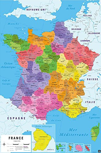 Amazon map of france carte de france poster print map of france carte de france poster print republique francaise french gumiabroncs Image collections