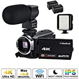 4K Video Camera Camcorder, CofunKool Ultra HD 4K Digital Video Camcorder 48MP 3 Inch IPS Screen 16X Digital Zoom IR Night Vision Vlogging Camera Recorder with WiFi, Microphone, LED Light, 2 Batteries