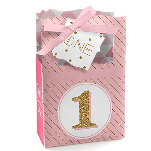 Glitter Dot Satin - 1st Birthday Girl - Fun to be One - Birthday Party Favor Boxes - Set of 12