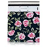 poly bag combo self seal - 100 Pack 10x13 Pink and Green Flowers Poly Mailers Shipping Envelopes Bags with Custom Designer Printed Boutique Pattern and Self Seal Adhesive Strip - Large Heavy Duty Waterproof 2.5Mil Bulk Combo