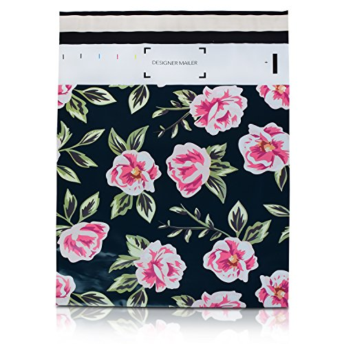 100 Pack 10x13 Pink and Green Flowers Poly Mailers Shipping Envelopes Bags with Custom Designer Printed Boutique Pattern and Self Seal Adhesive Strip - Large Heavy Duty Waterproof 2.5Mil Bulk Combo