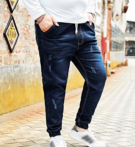 Stampa Ricamo Blu Scuro Grande Pantaloni Biker Jeans Uomo Yiiquan Pocket Taglia cZ6zzpBUy