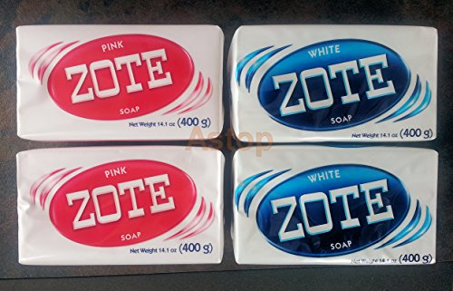Zote White & Pink Soaps Combo, For Laundry, Washing Clothes 14.1 oz. (4 Pack).. A09011997..ajax..palmolive..ariel...wisk..detergent..jabon..tide..