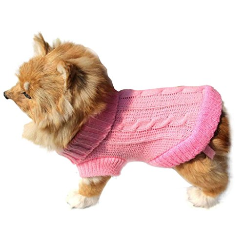 Malloom® Mascotas Perro Gato ropa del invierno suéter caliente Prendas de punto para perros rosa