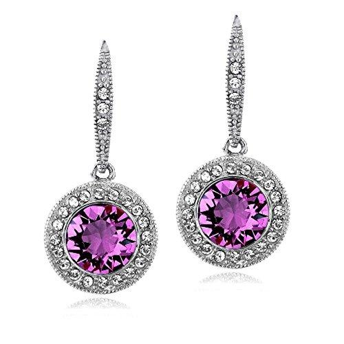 Bria Lou Silver Flashed Round Halo Drop & Dangle Leverback Earrings Made with Purple & Clear Swarovski (Drop Purple Earrings)