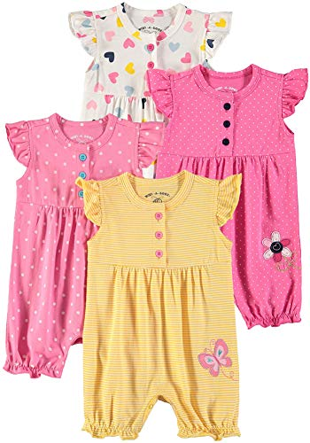 Wan-A-Beez Baby Girls' 2 Pack Embroidered Sleeveless Romper (Butterfly/Daisy - 4 Pack, 24 Months)