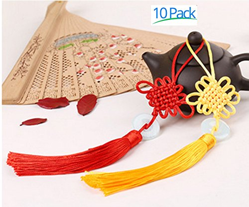 JIAHUI 10pcs Chinese Culture Handmade Chinese Knots with Jade Stone for Wealth and Good Fortune for Home or Office or Car Hanging Decoration,9.5inch Long