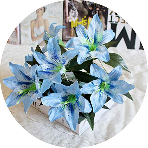 1Pcs 10 Heads Artificial Lily Flower Bouquet Fake Flowers Bridal Flower Wedding,7