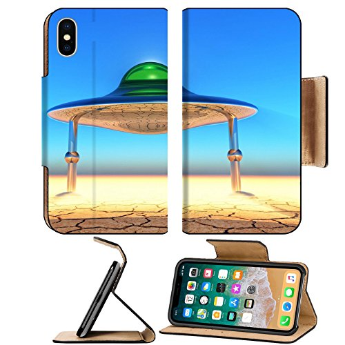 Luxlady Premium Apple iPhone X Flip Pu Leather Wallet Case IMAGE ID: 44624762 flying saucer landing in the desert