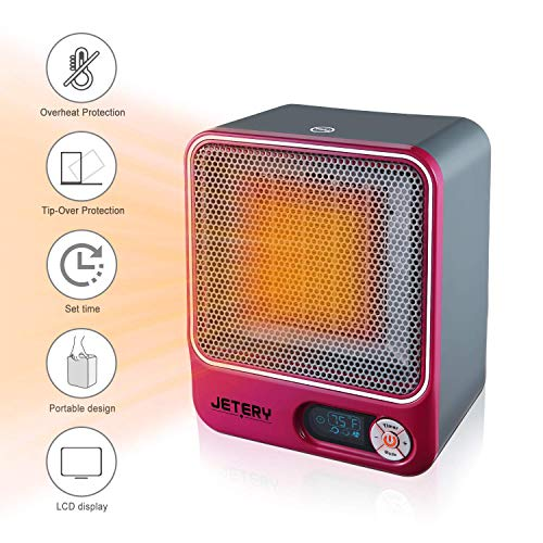 - JETERY 1500W PTC Space Heater, Heating System for Bedroom & Office, Portable Electric Heater with Adjustable Thermostat - Overheat Protection, Rose