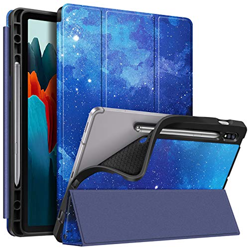 Fintie Slim Case for Samsung Galaxy Tab S7 11'' 2020 (Model SM-T870/T875/T878) with Built-in S Pen Holder, Soft TPU Smart Stand Back Cover Auto Wake/Sleep Feature, Starry Sky
