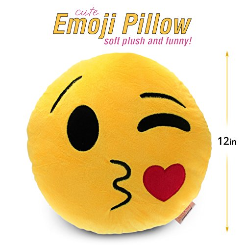 "Emoji Cute Pillow Trowing Kiss - Kissy Face - Yellow Stuffed Soft Plush - Very Comfortable & Funny Set of All Collection - Perfect Fun Item for all Ages - House, Living Room, Sleep Bedroom 14"" (35cm)"