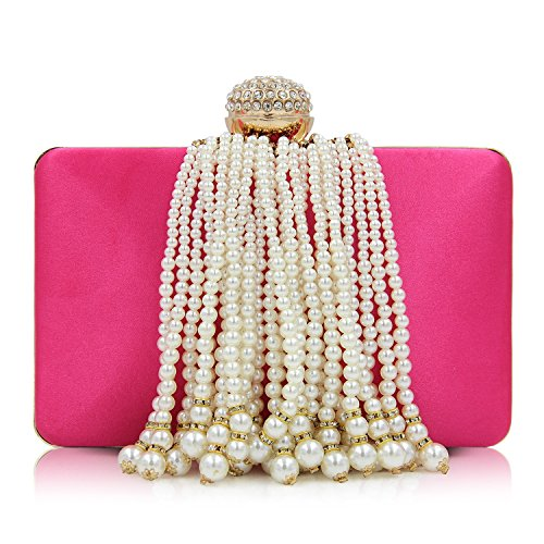 KYS Women Tassel Fashion Evening red Purses Day Wedding rose Beaded Purse Clutches Ladies Female Bags rrwdqZ0X