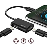 Dual Lightning Adapter for iPhone X, iPhone 8/8 plus, iPhone 7/7plus, Lightning Audio + Charge Splitter for IOS 11 Devices – Support Micro, Music and Volume Control (Black)