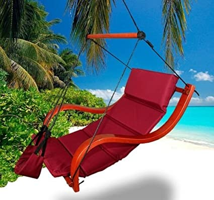 New Deluxe Patio Hanging Air Padded Swing Lounger Hammock Chair   Burgundy