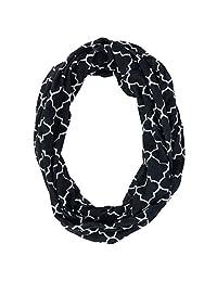 CTM® Women's Pattern Infinity Loop Scarf with Hidden Zipper Pocket, Black