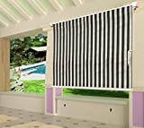 Shatex 6x6ft Grey and White Outdoor Roller Sun Shade Exterior Cordless Roller Shade