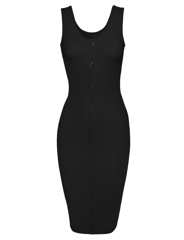 HRYfashion Damen stilvolles Bodycon-Kleid armlos mit Druckknopf