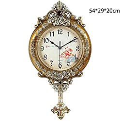 MGE UPS Systems Clock Wall Clock,European Pastoral Creative Wall Clock European Clock/Modern Living Room Mute Clock/Decoration Ornaments Elephant Quartz Clock (Color : Gold Color)