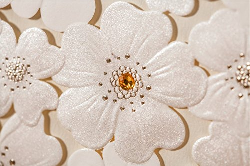 Wishmade New White Sunflower Style Laser cut Wedding invitations cards, Luxury Embossing party invitation card CW5136 (100)