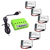 Wwman 6pcs 3.7V 550mah Batteries And 1to6 Battery Charger for MJX X708 X708W Rc Quadcopter Drone Spare Parts