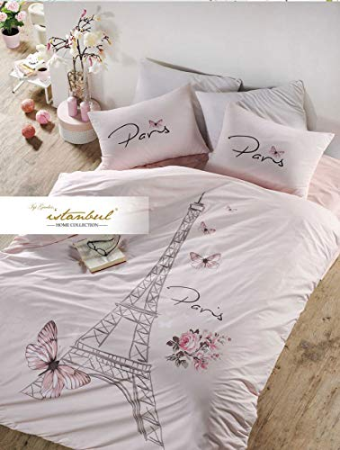 Bekata Dejavu, 100% Cotton Paris Bedding Set for Girls, Eiffel Tower Themed Single/Twin Size Quilt/Duvet Cover Set with Fitted Sheet, Salmon Pink, (3 PCS) Comforter NOT Included ()