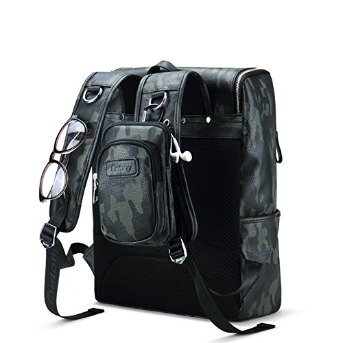 Hombre de la bolsa de hombro doble camuflaje Alta capacidad bolso que viaja Bolso de la computadora de cuero Moda mochilas-B D