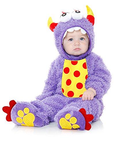 Charades Unisex-Adult's Little Monster Madness Costume Jumpsuit, Hood, and Footsies, Purple, Infant]()