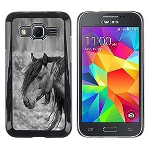 All Phone Most Case / Hard PC Metal piece Shell Slim Cover Protective Case Carcasa Funda Caso de protección para Samsung Galaxy Core Prime SM-G360 pony horse mane grey black animal