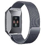 hooroor Fitbit Ionic Bands, Fully Magnetic Closure Clasp Mesh Loop Milanese Stainless Steel Ionic Band for Fitbit Ionic Smartwatch (Smoke Gray, Small)